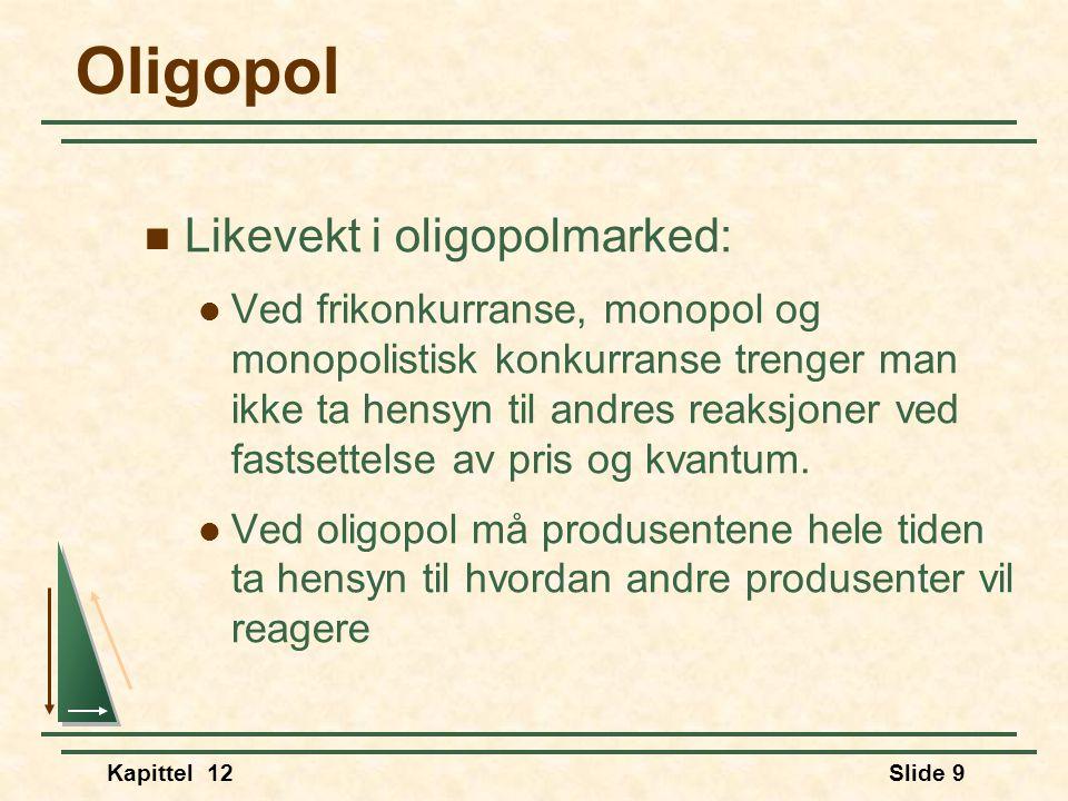 Kapittel 12Slide 9 Oligopol  Likevekt i oligopolmarked:  Ved frikonkurranse, monopol og monopolistisk konkurranse trenger man ikke ta hensyn til andres reaksjoner ved fastsettelse av pris og kvantum.