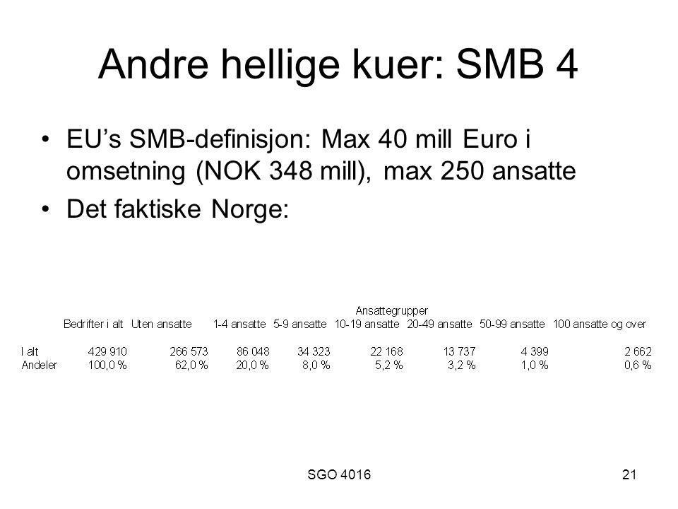 SGO 401621 Andre hellige kuer: SMB 4 •EU's SMB-definisjon: Max 40 mill Euro i omsetning (NOK 348 mill), max 250 ansatte •Det faktiske Norge: