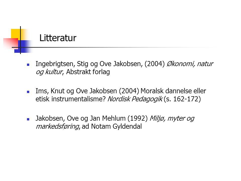 Litteratur  Ingebrigtsen, Stig og Ove Jakobsen, (2004) Økonomi, natur og kultur, Abstrakt forlag  Ims, Knut og Ove Jakobsen (2004) Moralsk dannelse