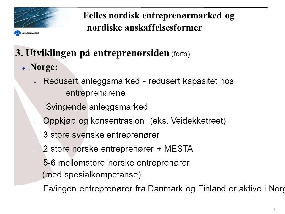 3. Utviklingen på entreprenørsiden (forts)  Norge:  Redusert anleggsmarked - redusert kapasitet hos entreprenørene  Svingende anleggsmarked  Oppkj