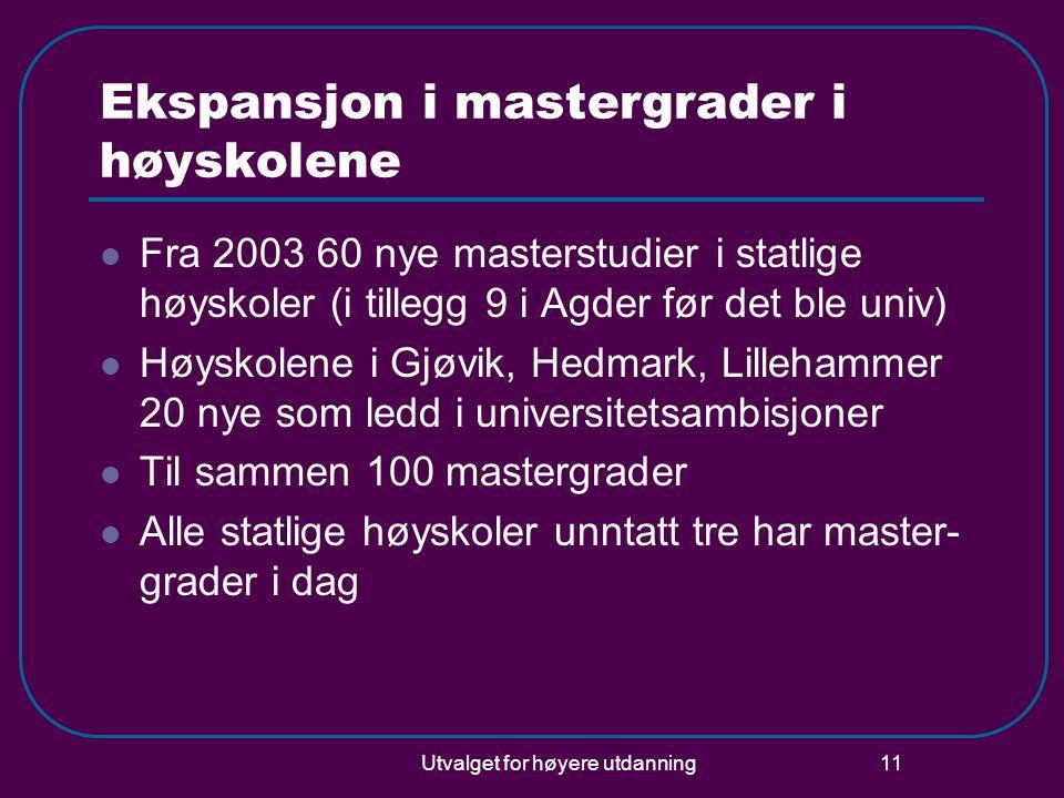 Utvalget for høyere utdanning 11 Ekspansjon i mastergrader i høyskolene  Fra 2003 60 nye masterstudier i statlige høyskoler (i tillegg 9 i Agder før det ble univ)  Høyskolene i Gjøvik, Hedmark, Lillehammer 20 nye som ledd i universitetsambisjoner  Til sammen 100 mastergrader  Alle statlige høyskoler unntatt tre har master- grader i dag
