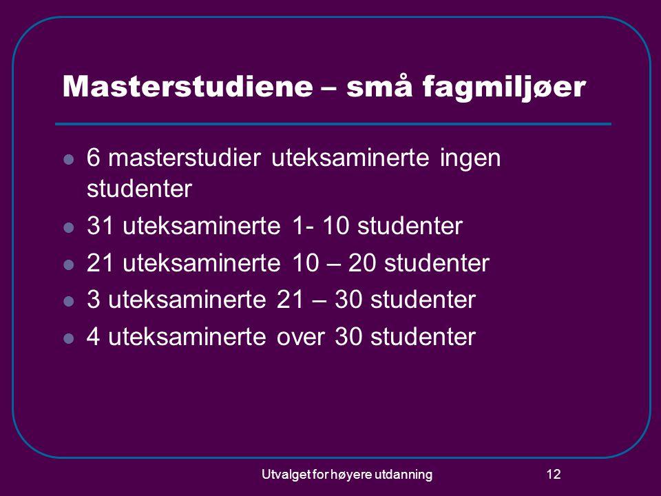 Utvalget for høyere utdanning 12 Masterstudiene – små fagmiljøer  6 masterstudier uteksaminerte ingen studenter  31 uteksaminerte 1- 10 studenter  21 uteksaminerte 10 – 20 studenter  3 uteksaminerte 21 – 30 studenter  4 uteksaminerte over 30 studenter