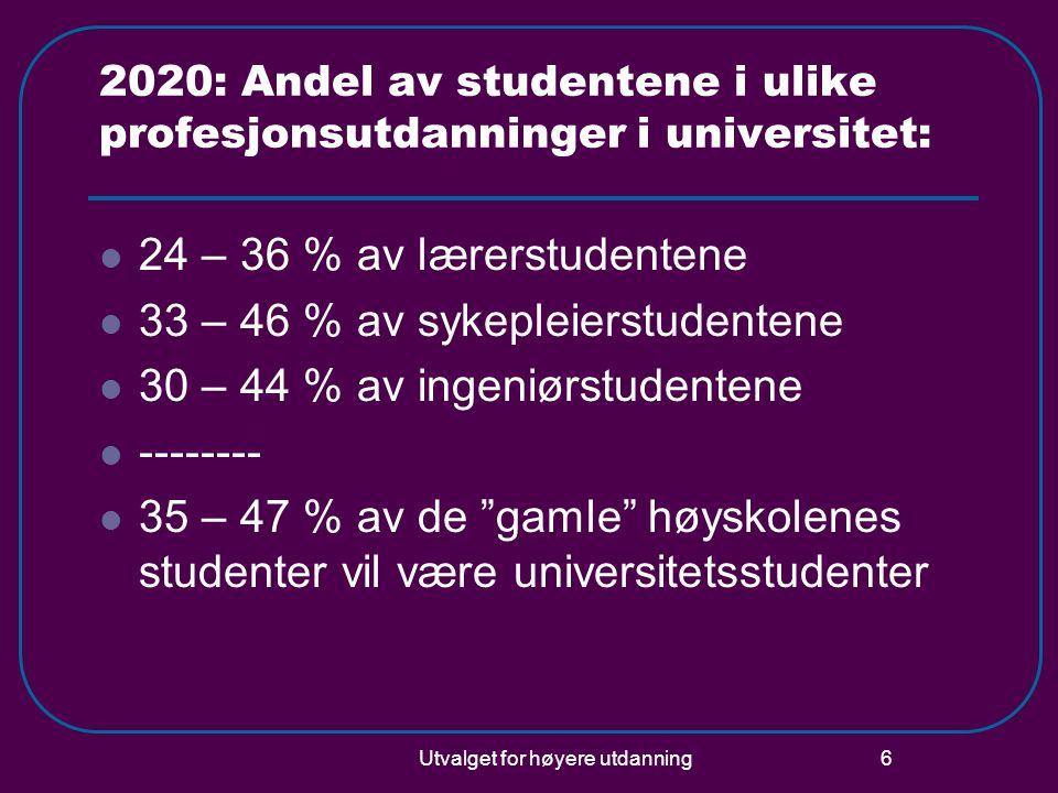 Utvalget for høyere utdanning 6 2020: Andel av studentene i ulike profesjonsutdanninger i universitet:  24 – 36 % av lærerstudentene  33 – 46 % av sykepleierstudentene  30 – 44 % av ingeniørstudentene  --------  35 – 47 % av de gamle høyskolenes studenter vil være universitetsstudenter