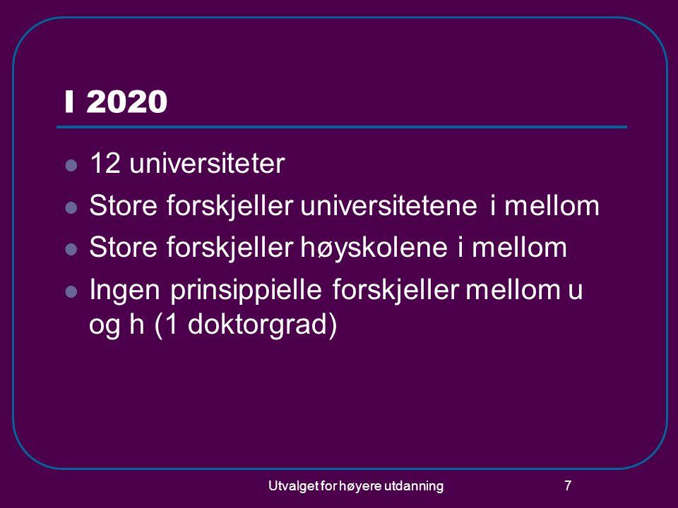 Utvalget for høyere utdanning 7 I 2020  12 universiteter  Store forskjeller universitetene i mellom  Store forskjeller høyskolene i mellom  Ingen prinsippielle forskjeller mellom u og h (1 doktorgrad)