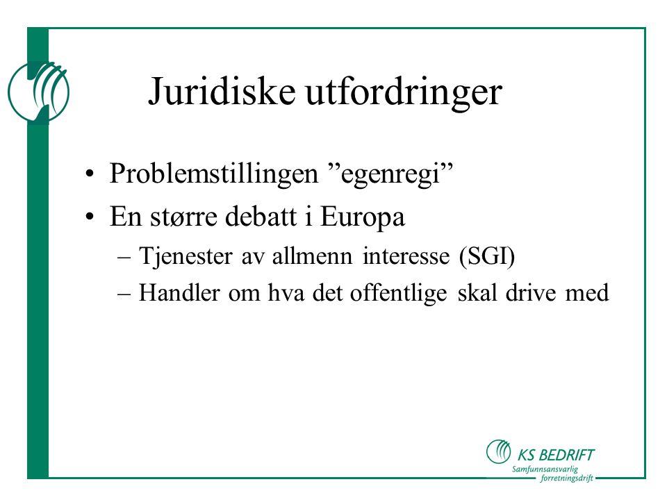 """Juridiske utfordringer •Problemstillingen """"egenregi"""" •En større debatt i Europa –Tjenester av allmenn interesse (SGI) –Handler om hva det offentlige s"""