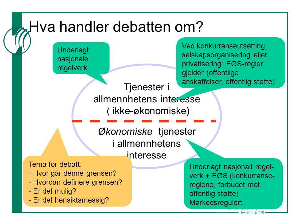 Hva handler debatten om? Tjenester i allmennhetens interesse ( ikke-økonomiske) Økonomiske tjenester i allmennhetens interesse Underlagt nasjonale reg