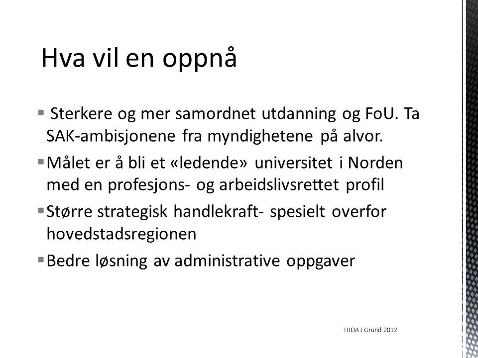  Sterkere og mer samordnet utdanning og FoU. Ta SAK-ambisjonene fra myndighetene på alvor.  Målet er å bli et «ledende» universitet i Norden med en