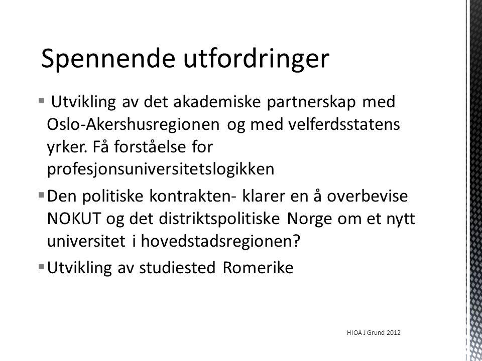  Utvikling av det akademiske partnerskap med Oslo-Akershusregionen og med velferdsstatens yrker.