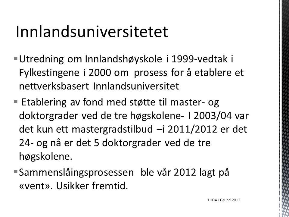  Utredning om Innlandshøyskole i 1999-vedtak i Fylkestingene i 2000 om prosess for å etablere et nettverksbasert Innlandsuniversitet  Etablering av fond med støtte til master- og doktorgrader ved de tre høgskolene- I 2003/04 var det kun ett mastergradstilbud –i 2011/2012 er det 24- og nå er det 5 doktorgrader ved de tre høgskolene.