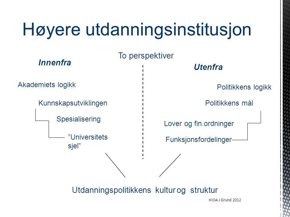 """Høyere utdanningsinstitusjon To perspektiver Innenfra Akademiets logikk Utenfra Politikkens logikk Spesialisering Funksjonsfordelinger """"Universitets s"""