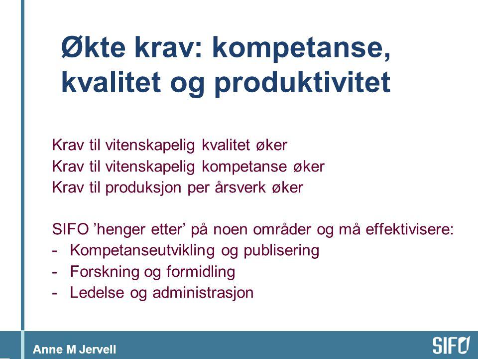 Anne M Jervell Økte krav: kompetanse, kvalitet og produktivitet Krav til vitenskapelig kvalitet øker Krav til vitenskapelig kompetanse øker Krav til produksjon per årsverk øker SIFO 'henger etter' på noen områder og må effektivisere: -Kompetanseutvikling og publisering -Forskning og formidling -Ledelse og administrasjon