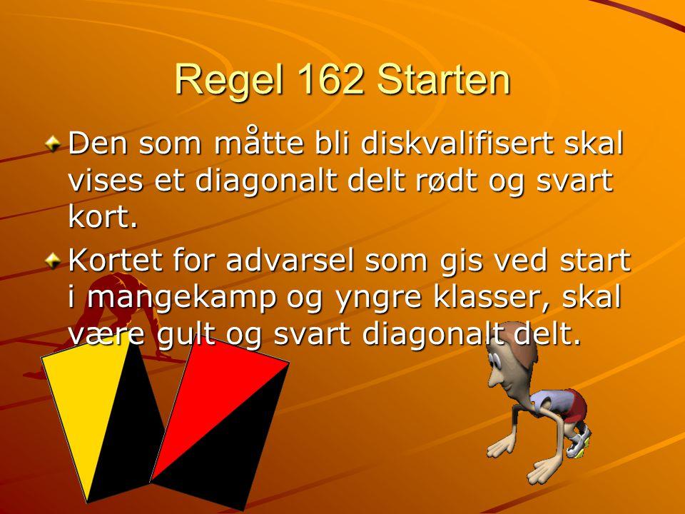 Regel 162 Starten Den som måtte bli diskvalifisert skal vises et diagonalt delt rødt og svart kort.