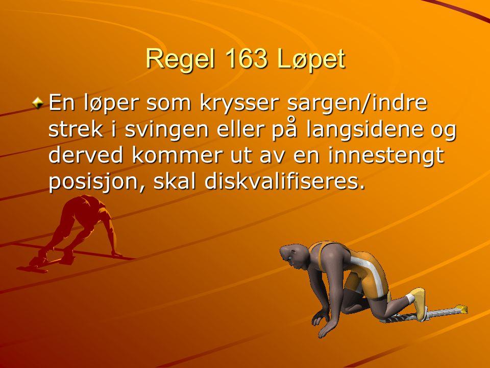 Regel 163 Løpet En løper som krysser sargen/indre strek i svingen eller på langsidene og derved kommer ut av en innestengt posisjon, skal diskvalifiseres.
