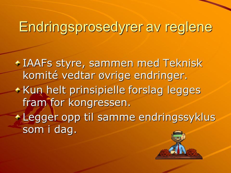 Endringsprosedyrer av reglene IAAFs styre, sammen med Teknisk komité vedtar øvrige endringer.