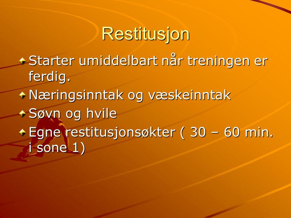 Restitusjon Starter umiddelbart når treningen er ferdig.