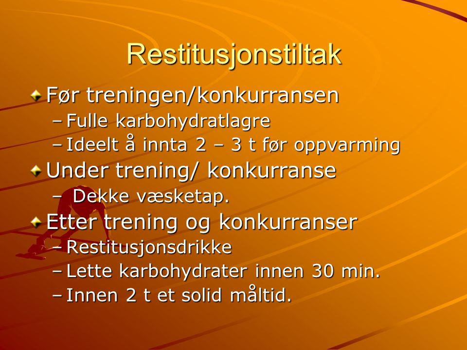 Restitusjonstiltak Før treningen/konkurransen –Fulle karbohydratlagre –Ideelt å innta 2 – 3 t før oppvarming Under trening/ konkurranse – Dekke væsketap.