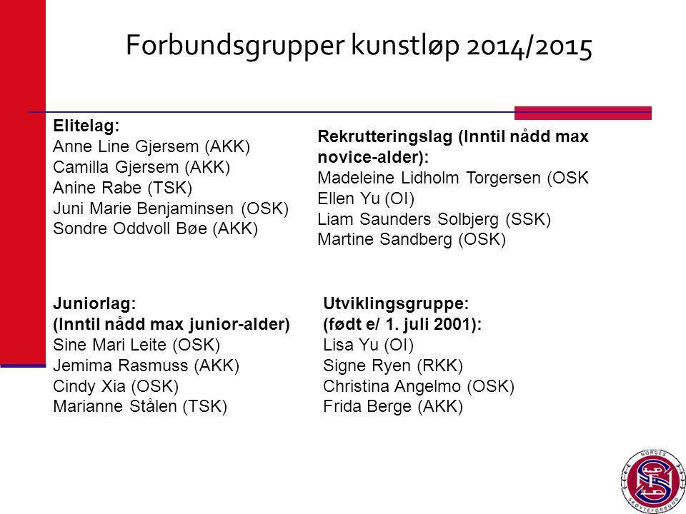 Forbundsgrupper kunstløp 2014/2015 Elitelag: Anne Line Gjersem (AKK) Camilla Gjersem (AKK) Anine Rabe (TSK) Juni Marie Benjaminsen (OSK) Sondre Oddvol