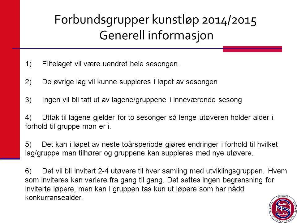 Forbundsgrupper kunstløp 2014/2015 Generell informasjon 1) Elitelaget vil være uendret hele sesongen. 2) De øvrige lag vil kunne suppleres i løpet av