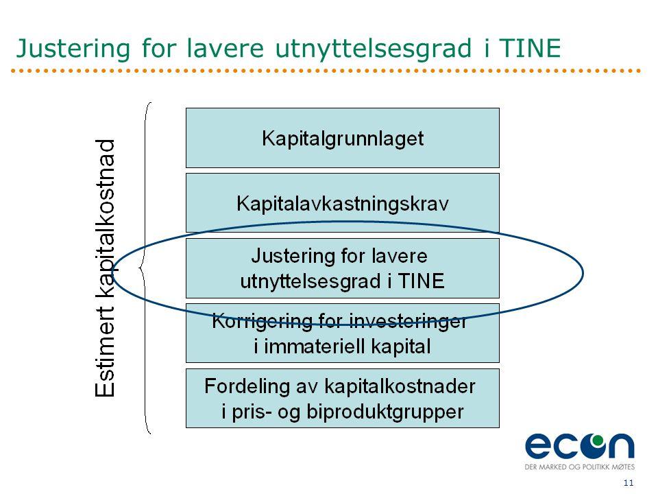 11 Justering for lavere utnyttelsesgrad i TINE