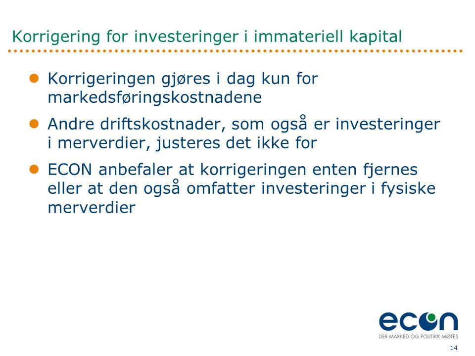 14 Korrigering for investeringer i immateriell kapital  Korrigeringen gjøres i dag kun for markedsføringskostnadene  Andre driftskostnader, som også er investeringer i merverdier, justeres det ikke for  ECON anbefaler at korrigeringen enten fjernes eller at den også omfatter investeringer i fysiske merverdier