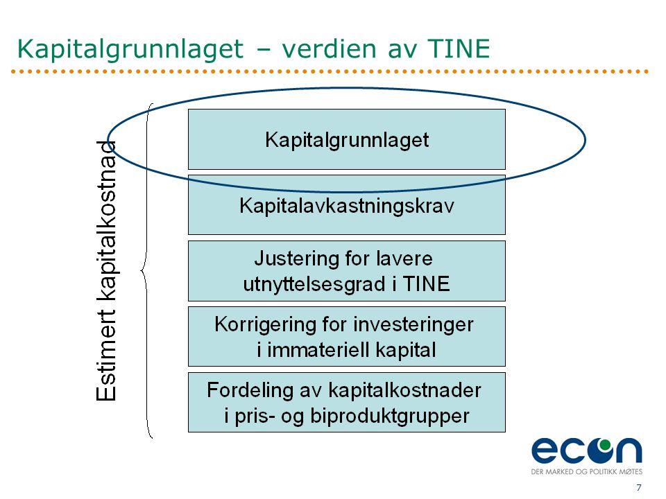 8  Beregningen i dagens modell er ikke god nok −Benchmark-modellen som i dag brukes vil alltid gi usikkerhet −Utvalget sammenlignbare selskaper er mangelfullt  Vi støtter myndighetenes initiativ til å taksere TINEs kapital