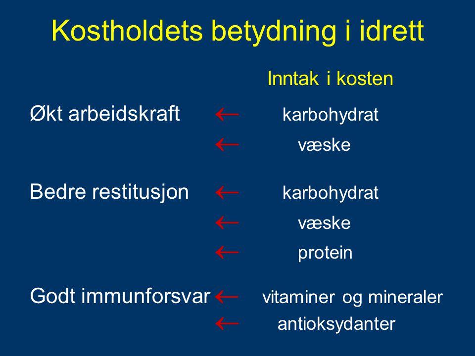 Inntak i kosten Økt arbeidskraft  karbohydrat  væske Bedre restitusjon  karbohydrat  væske  protein Godt immunforsvar  vitaminer og mineraler 