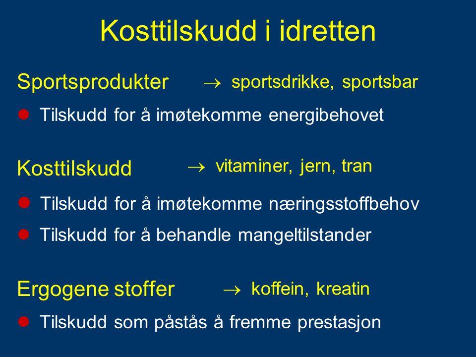Kosttilskudd i idretten Sportsprodukter  Tilskudd for å imøtekomme energibehovet Kosttilskudd  Tilskudd for å imøtekomme næringsstoffbehov  Tilskud