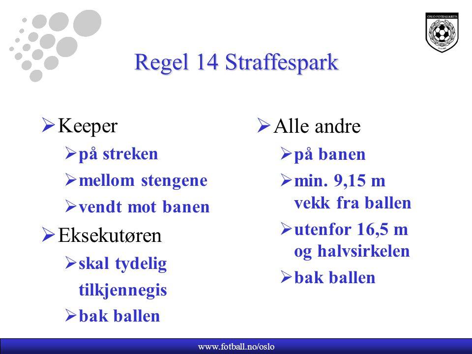 www.fotball.no/oslo Regel 14 Straffespark  Keeper  på streken  mellom stengene  vendt mot banen  Eksekutøren  skal tydelig tilkjennegis  bak ba