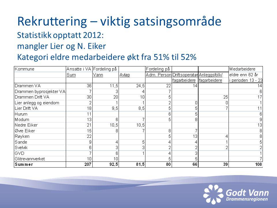 Rekruttering – viktig satsingsområde Statistikk opptatt 2012: mangler Lier og N. Eiker Kategori eldre medarbeidere økt fra 51% til 52%