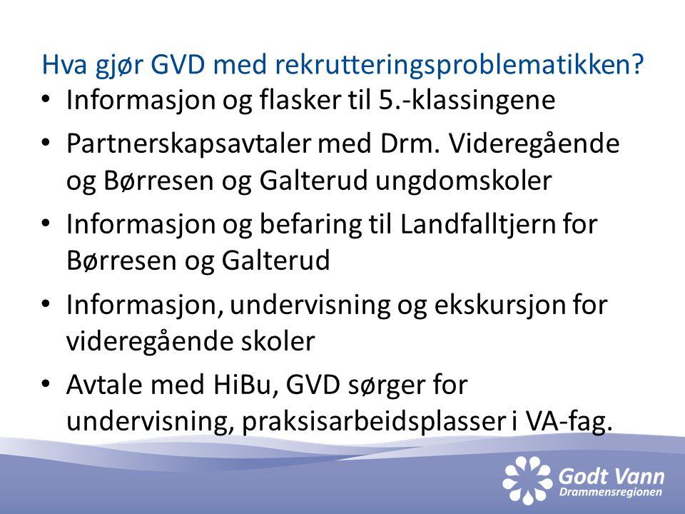Hva gjør GVD med rekrutteringsproblematikken? • Informasjon og flasker til 5.-klassingene • Partnerskapsavtaler med Drm. Videregående og Børresen og G