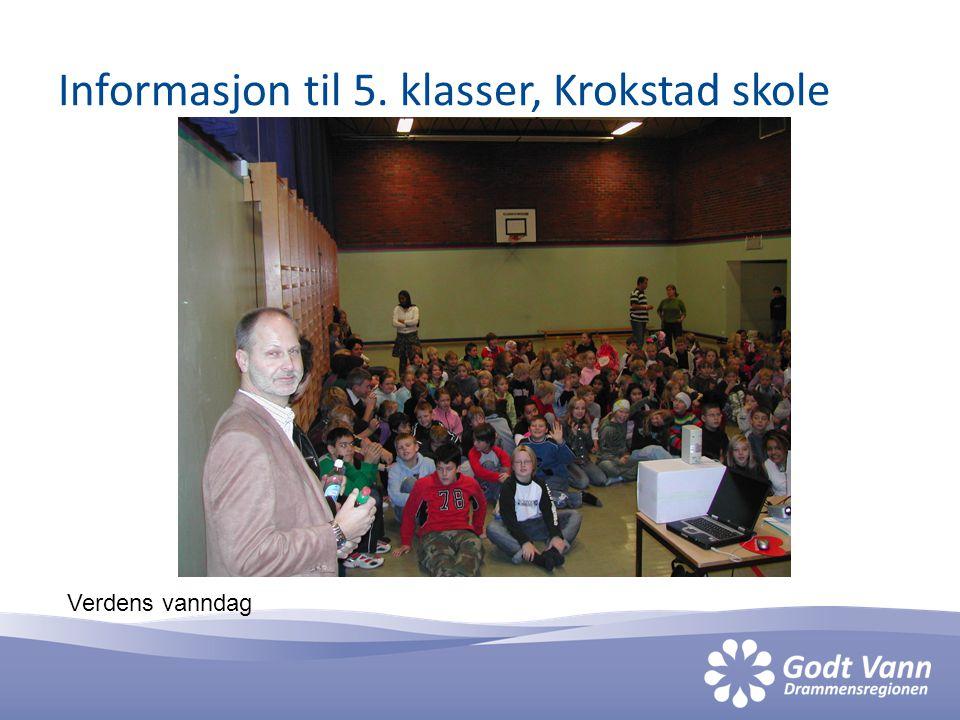 Informasjon til 5. klasser, Krokstad skole Verdens vanndag