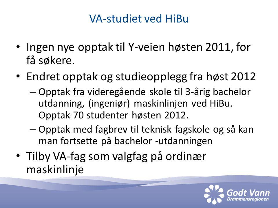 VA-studiet ved HiBu • Ingen nye opptak til Y-veien høsten 2011, for få søkere. • Endret opptak og studieopplegg fra høst 2012 – Opptak fra videregåend