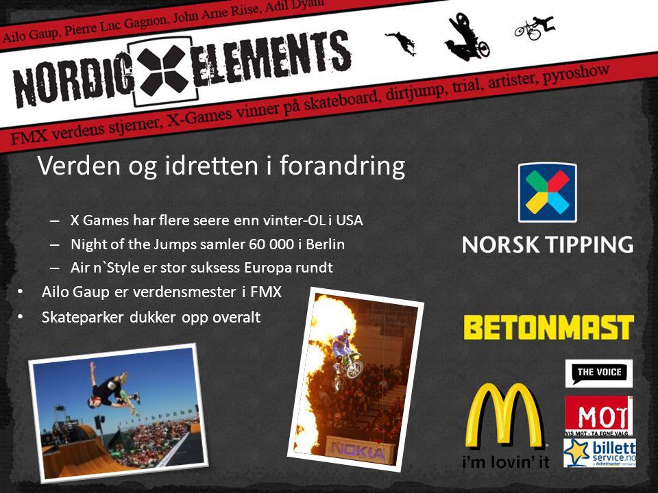 Verden og idretten i forandring – X Games har flere seere enn vinter-OL i USA – Night of the Jumps samler 60 000 i Berlin – Air n`Style er stor suksess Europa rundt • Ailo Gaup er verdensmester i FMX • Skateparker dukker opp overalt