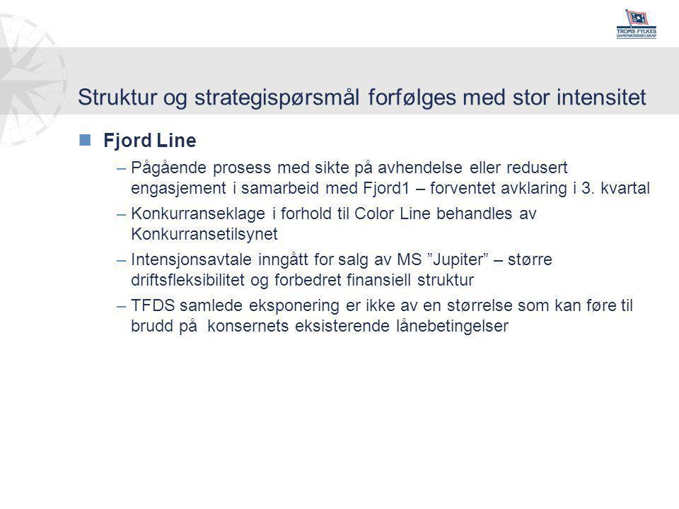 Struktur og strategispørsmål forfølges med stor intensitet nFjord Line –Pågående prosess med sikte på avhendelse eller redusert engasjement i samarbeid med Fjord1 – forventet avklaring i 3.