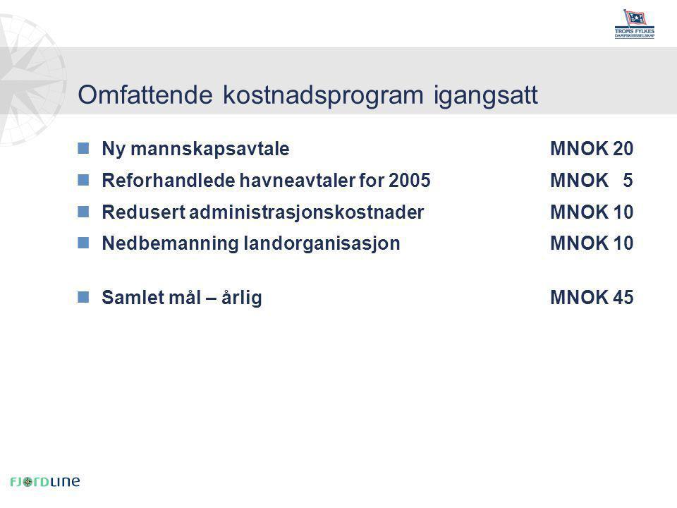 nNy mannskapsavtaleMNOK 20 nReforhandlede havneavtaler for 2005MNOK 5 nRedusert administrasjonskostnaderMNOK 10 nNedbemanning landorganisasjonMNOK 10 nSamlet mål – årlig MNOK 45 Omfattende kostnadsprogram igangsatt