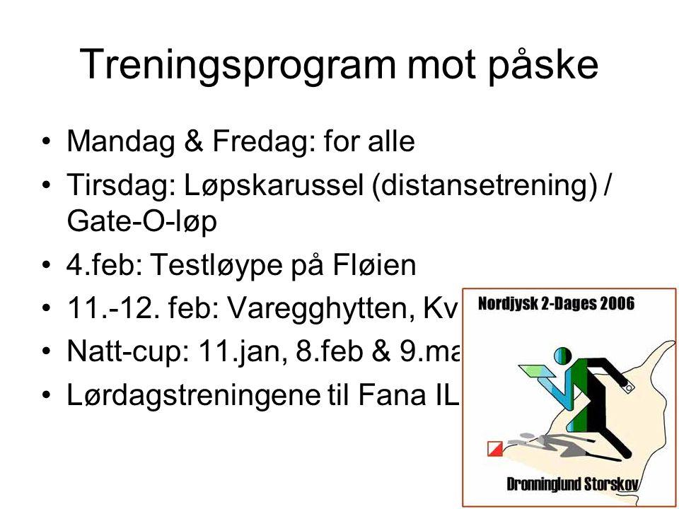 2 Treningsprogram mot påske •Mandag & Fredag: for alle •Tirsdag: Løpskarussel (distansetrening) / Gate-O-løp •4.feb: Testløype på Fløien •11.-12. feb: