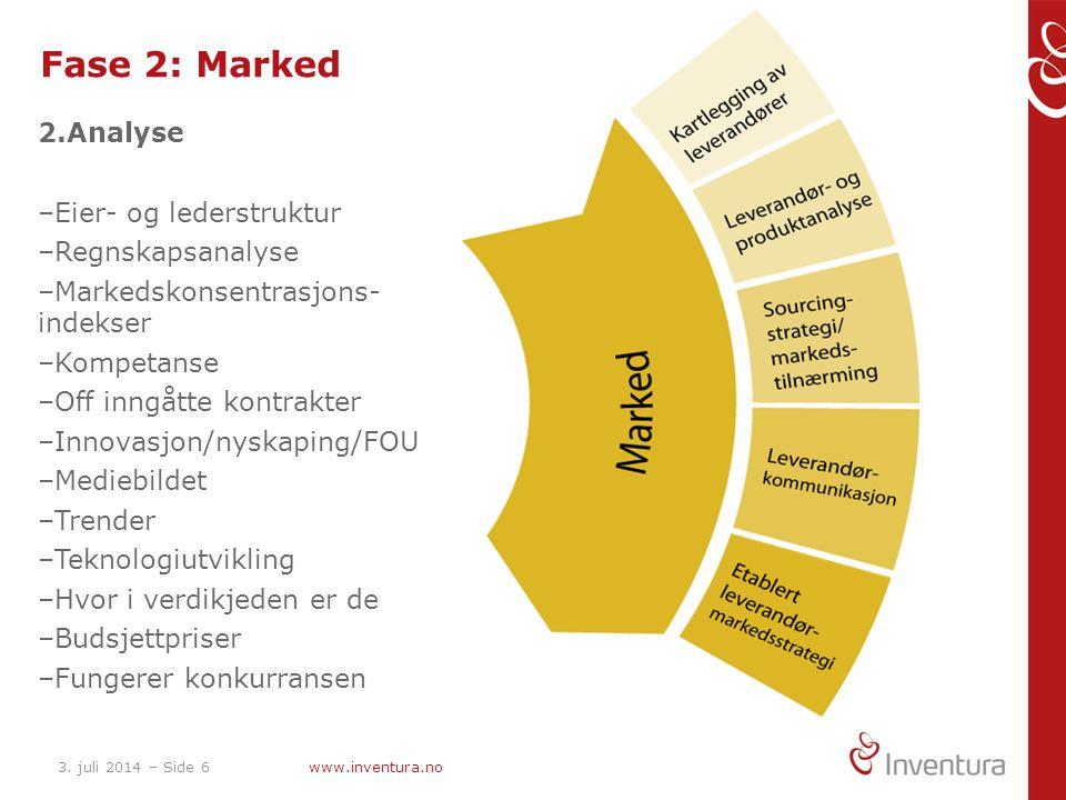 3. juli 2014 – Side 6www.inventura.no Fase 2: Marked 2.Analyse –Eier- og lederstruktur –Regnskapsanalyse –Markedskonsentrasjons- indekser –Kompetanse