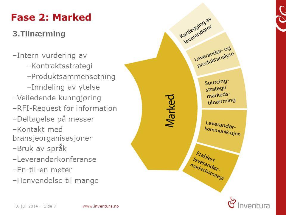 3. juli 2014 – Side 7www.inventura.no Fase 2: Marked 3.Tilnærming –Intern vurdering av –Kontraktsstrategi –Produktsammensetning –Inndeling av ytelse –