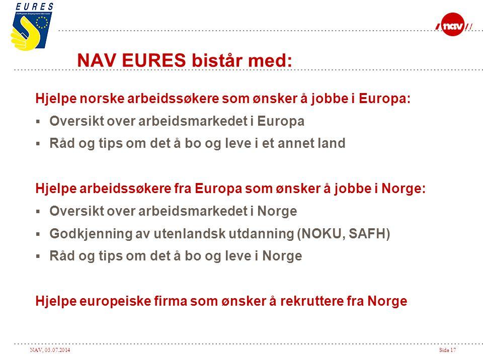 NAV, 03.07.2014Side 17 NAV EURES bistår med: Hjelpe norske arbeidssøkere som ønsker å jobbe i Europa:  Oversikt over arbeidsmarkedet i Europa  Råd o