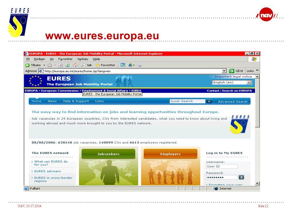 NAV, 03.07.2014Side 22 www.eures.europa.eu