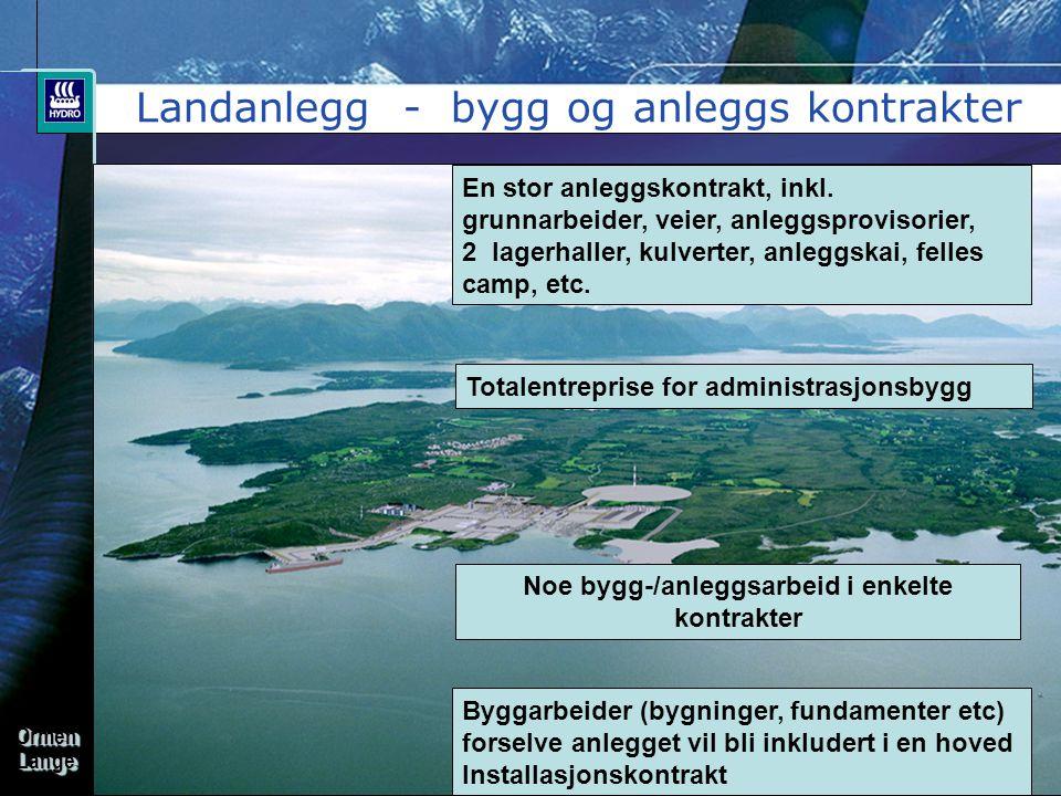 OrmenLangeOrmenLange Landanlegg - bygg og anleggs kontrakter En stor anleggskontrakt, inkl. grunnarbeider, veier, anleggsprovisorier, 2 lagerhaller, k