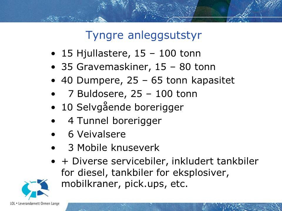 Tyngre anleggsutstyr •15 Hjullastere, 15 – 100 tonn •35 Gravemaskiner, 15 – 80 tonn •40 Dumpere, 25 – 65 tonn kapasitet • 7 Buldosere, 25 – 100 tonn •10 Selvgående borerigger • 4 Tunnel borerigger • 6 Veivalsere • 3 Mobile knuseverk •+ Diverse servicebiler, inkludert tankbiler for diesel, tankbiler for eksplosiver, mobilkraner, pick.ups, etc.