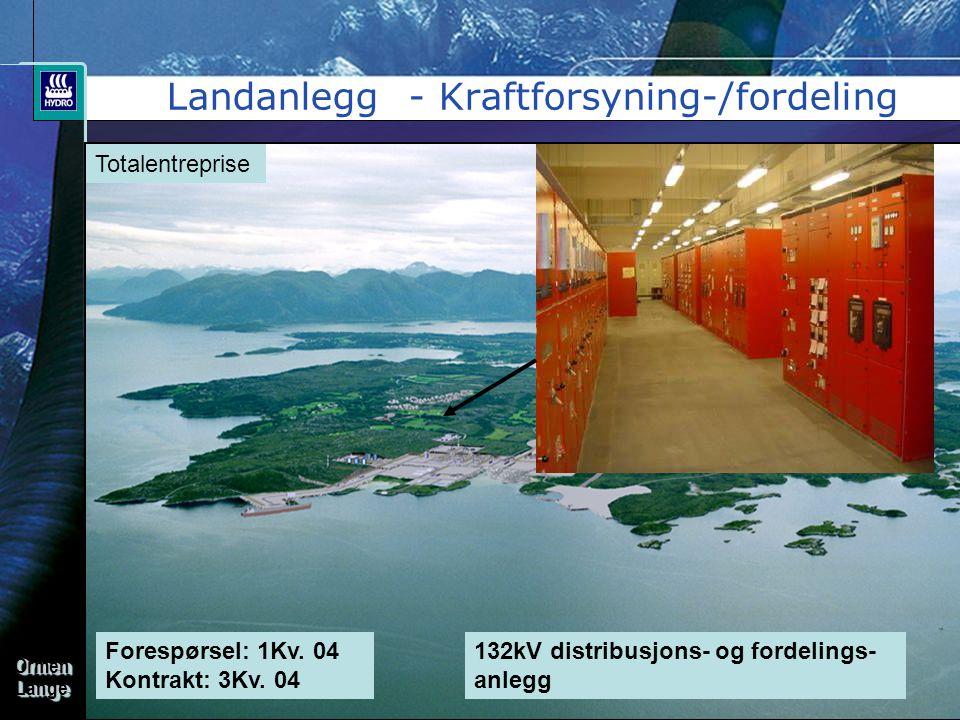 OrmenLangeOrmenLange Landanlegg - Kraftforsyning-/fordeling Forespørsel: 1Kv. 04 Kontrakt: 3Kv. 04 Totalentreprise 132kV distribusjons- og fordelings-