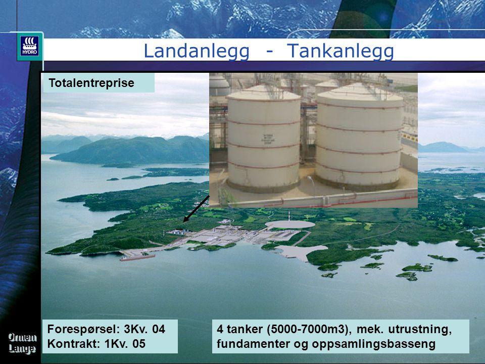 OrmenLangeOrmenLange Landanlegg - Tankanlegg Totalentreprise Forespørsel: 3Kv. 04 Kontrakt: 1Kv. 05 4 tanker (5000-7000m3), mek. utrustning, fundament