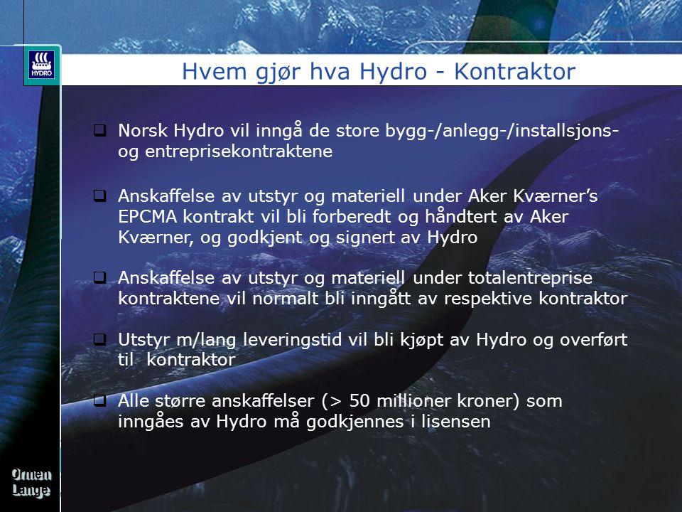 OrmenLangeOrmenLange Hvem gjør hva Hydro - Kontraktor  Norsk Hydro vil inngå de store bygg-/anlegg-/installsjons- og entreprisekontraktene  Anskaffelse av utstyr og materiell under Aker Kværner's EPCMA kontrakt vil bli forberedt og håndtert av Aker Kværner, og godkjent og signert av Hydro  Anskaffelse av utstyr og materiell under totalentreprise kontraktene vil normalt bli inngått av respektive kontraktor  Utstyr m/lang leveringstid vil bli kjøpt av Hydro og overført til kontraktor  Alle større anskaffelser (> 50 millioner kroner) som inngåes av Hydro må godkjennes i lisensen