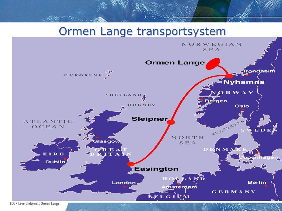 Ormen Lange transportsystem Nytt eksportrør fra Ormen Lange vil øke den norske eksport- kapasiteten fra 86 til mer enn 106 BSm 3 / år Nytt eksportrør fra Ormen Lange vil øke den norske eksport- kapasiteten fra 86 til mer enn 106 BSm 3 / år