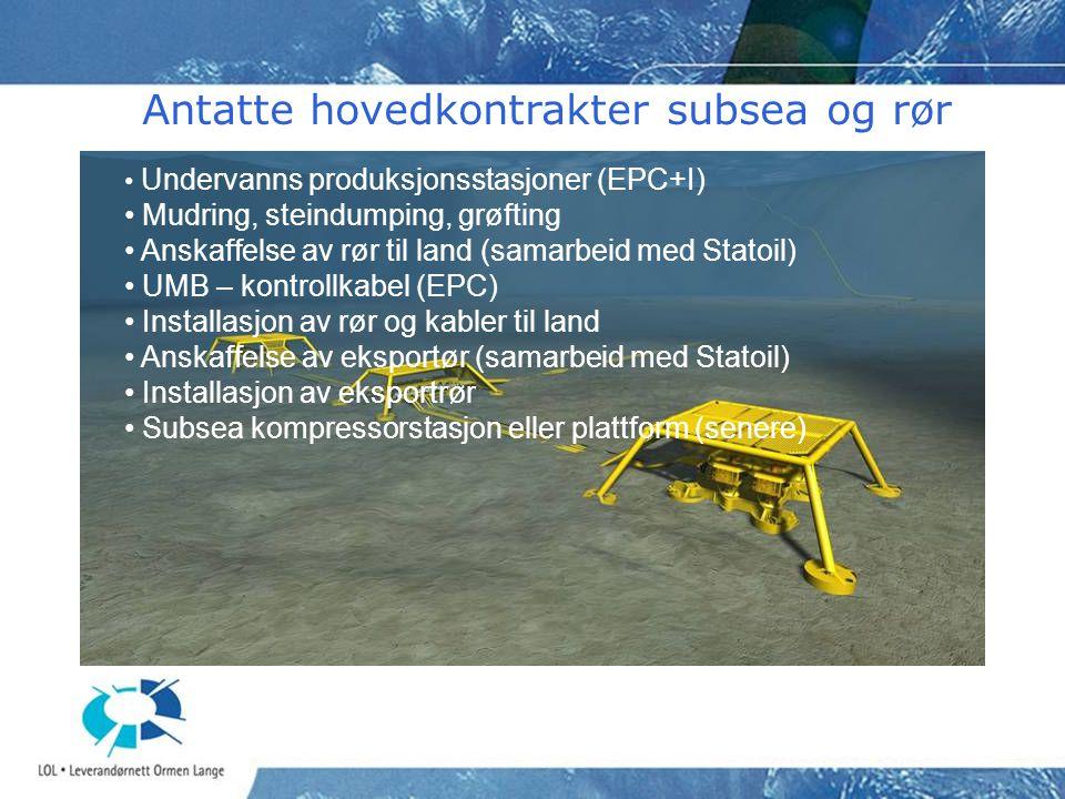 • Undervanns produksjonsstasjoner (EPC+I) • Mudring, steindumping, grøfting • Anskaffelse av rør til land (samarbeid med Statoil) • UMB – kontrollkabel (EPC) • Installasjon av rør og kabler til land • Anskaffelse av eksportør (samarbeid med Statoil) • Installasjon av eksportrør • Subsea kompressorstasjon eller plattform (senere) Antatte hovedkontrakter subsea og rør