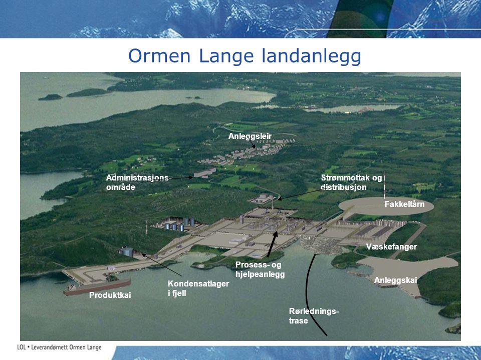 Ormen Lange landanlegg Administrasjons- område Anleggsleir Strømmottak og distribusjon Prosess- og hjelpeanlegg Fakkeltårn Anleggskai Rørlednings- tra