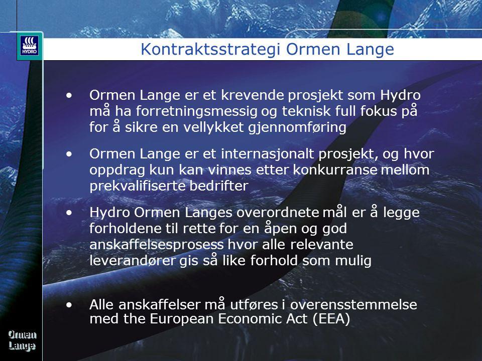OrmenLangeOrmenLange Kontraktsstrategi Ormen Lange •Ormen Lange er et krevende prosjekt som Hydro må ha forretningsmessig og teknisk full fokus på for