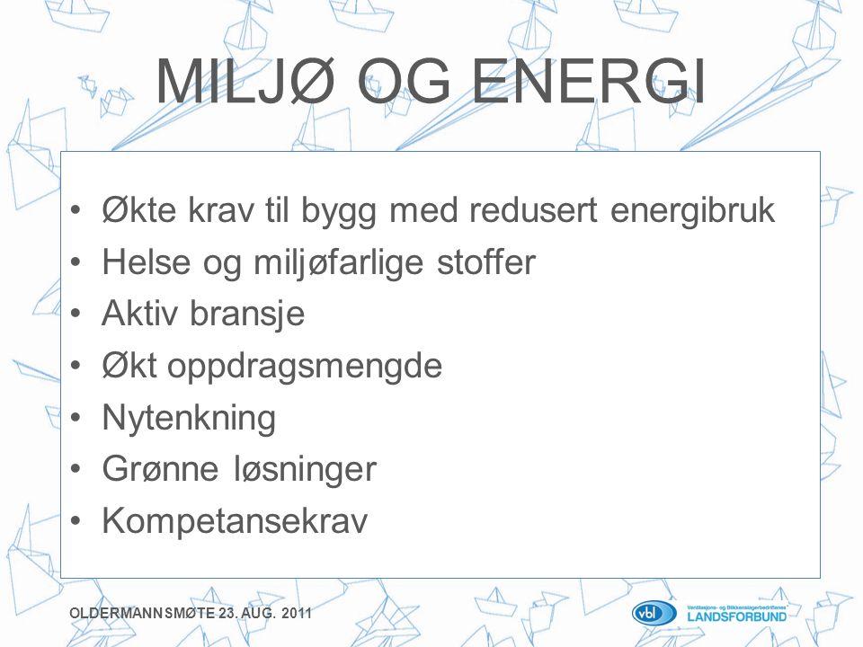 MILJØ OG ENERGI •Økte krav til bygg med redusert energibruk •Helse og miljøfarlige stoffer •Aktiv bransje •Økt oppdragsmengde •Nytenkning •Grønne løsninger •Kompetansekrav OLDERMANNSMØTE 23.